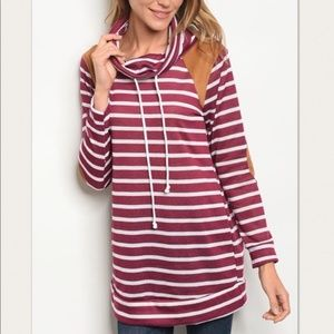 Burgundy Cowl Neck Sweater Stripes Spring Light